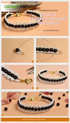 Pandahall Tutorial on How to Make White Seed Beads Bracelet with Black Pearl Beads from LC.Pandahall.com