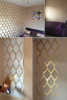 Living Room Wall Designs, Home Design Living Room, Dream Home Design, Stencil Painting On Walls, Painting Textured Walls, Room Partition Designs, Wall Stencil Patterns, Wall Wallpaper, Gold Wallpaper For Walls