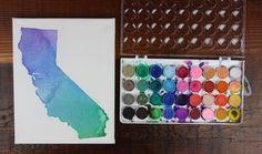 DIY Watercolor State Silhouette