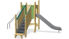 Play tower with slide & banister bars ADA - NRO1018 - Play structures - Playground Equipment - KOMPAN