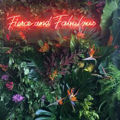 Hiding In The City Flowers Fierce and fabulous tropicals and neon, a perfect combination for a statement photo oppertunity wall at your event or wedding. Neon Wall Signs, Custom Neon Signs, Led Neon Signs, City Flowers, Neon Jungle, Rooftop Party, Neon Words, Wall Installation, Floral Wall