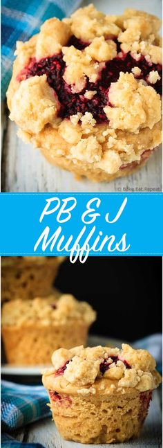 Amazing peanut butter and jelly muffins - light and fluffy peanut butter muffin. Amazing peanut butter and jelly muffins - light and fluffy peanut butter muffins with a homemade raspberry jam filling and a buttery crumb topping! Peanut Butter Muffins, Peanut Butter Recipes, Healthy Muffin Recipes, Healthy Muffins, Baking Cupcakes, Cupcake Cakes, Fudge, Baking Recipes, Dessert Recipes