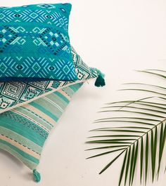 The Chichi, Nahuala & San Juan Pillows in summer-inspired aquas. Handwoven in Guatemala. | Ara Collective