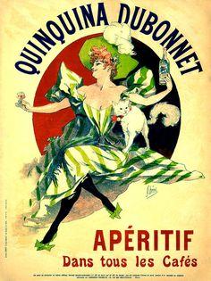 """Apéritif - Quinquina dubonnet"""" by Jules Chéret. Vintage poster of wine Es ist das Lieblingsgetränk der britischen KöniginElisabeth II., sie lässt ihn mit einem Drittel Gin mischen und mit einer halben Zitronenspalte und 2 Eiswürfeln servieren."""