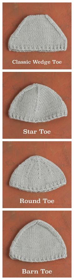Each method for working top-down sock toes creates a slightly different look and shape. Learn four different toe-types that vary in decreases per round, position and direction of decreases, and frequency of decreases. Loom Knitting, Knitting Stitches, Knitting Socks, Knitting Patterns Free, Hand Knitting, Crochet Patterns, Crochet Socks, Knit Or Crochet, Knitted Slippers