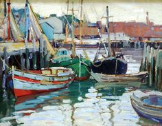 """Gloucester Harbor,"" Aldro Thompson Hibbard, oil on board, 16 x 20"", McDougall Fine Arts Galleries."