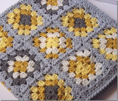 Yellow Gray Granny Square Blanket