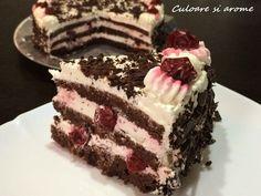 Ingrediente: – un blat de cacao – 800 g smantana pentru frisca – 120 g zahar pudra – o lingura esenta vanilie – 600 g visine congelate Pentru decor: – cateva visine – 80-100 g ciocolata neagra taiata la cutit Mod de preparare: As putea spune ca acest tort se … Tiramisu, Cake, Ethnic Recipes, Desserts, Tailgate Desserts, Deserts, Food Cakes, Cakes, Postres
