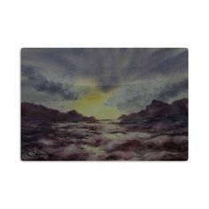 "Cyndi Steen ""Crashing Waves"" Purple Yellow Aluminum Artistic Magnet"
