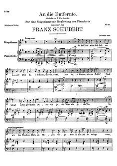 An die Entfernte, Goethe mist Friederike Piano Forte, Sheet Music, Nice Asses, Music Sheets