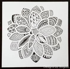Zentangle Dahlia. I used my Designs by Georgina Dahlia stencil for the base design.  http://designsbygeorgina.blogspot.co.uk/2016/06/zentangle-dahlia.html