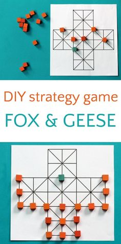 Traditional board game Fox and Geese. Fun for kids and builds brains.