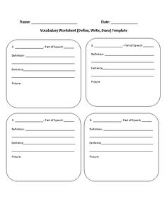 Worksheet Blank Vocabulary Worksheet vocabulary worksheets and on pinterest worksheet definewritedraw template