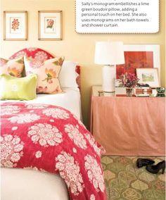 washington DC designer sally steponkus  pillows: zimmer rohde etamine mandala  headboard & duvet: quadrille china seas balinese batik in magenta/cream