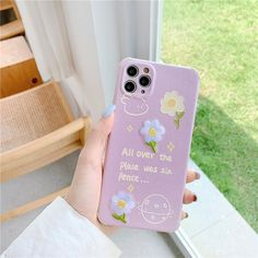 Embroidered Flowers Phone Case - Purple / iPhone X/XS