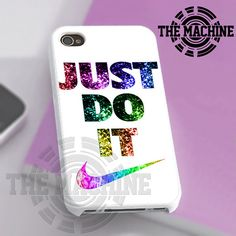 Nike Just Do It Glitter White - iPhone 4/4s/5 Case - Samsung Galaxy S3/S4 Case - Black or White by THEMACHINEV8 on Etsy