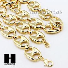 Gold Plated 5 to wide 9 24 30 36 Puffed Mariner Gucci Link Chain Gold Money, Hip Hop Outfits, Chains For Men, Brass Chain, Marines, Gucci, Bling, Ebay, Jewelry Watches