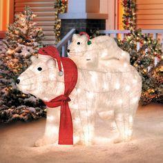 Set 3 Polar Bear Tinsel Christmas Silhouette Clear Lights Outdoor Decoration