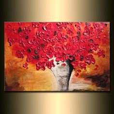 ORIGINAL Large Red Flowers Painting Abstract Contemporary Bouquet in Vase Heavy Texture by Henry Parsinia Ready to Hang 36x24 on Etsy, $325.00