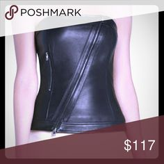 NWOT BCBGMaxAzria Black Andock Leather Bustier Top NEW without tags, never worn. Black real leather bustier top. Gunmetal zippers. Fast shipping! BCBGMaxAzria Tops