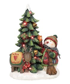 Take a look at this Little Bird & Snowman Tree Light-Up Figurine by Transpac Imports on #zulily today!