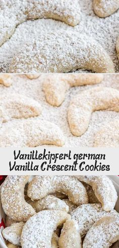 Almond Crescent Cookies (Vanillekipferl) are traditional German Christmas Cookies made with ground nuts and dusted with vanilla sugar! They are so tender, sweet, and melt in your mouth. A perfect cookie to add to your Christmas baking list! German Christmas Cookies, Christmas Baking, Crescent Cookies, Perfect Cookie, Vanilla Sugar, Best Cookie Recipes, Shortbread, Almond, Traditional