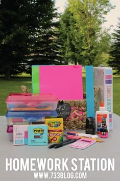 Keep your kids (and yourself!) organized this school year with a Homework Station. Never be without a pencil or eraser again!