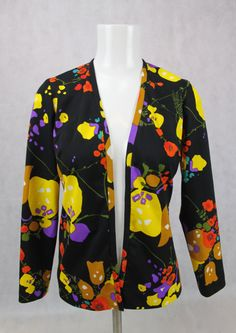 Vintage Abstract Floral Print Cardigan Top by PatternVintageLondon