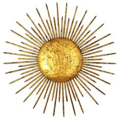 1940s French Hand-Hammered Iron Gold Leaf Gilt Sunburst Light Fixture