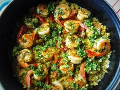Chimichurri Shrimp With Quinoa - Hispanic Kitchen. I never think of chimichurri with quinoa, but it is a terrific idea. I might try with scallops. Seafood Dishes, Fish And Seafood, Seafood Recipes, Mexican Food Recipes, Cooking Recipes, Healthy Recipes, Ethnic Recipes, Prawn Dishes, Prawn Recipes