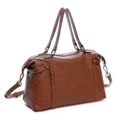 Brown Real Leather Tote