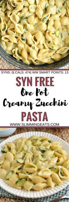 Slimming Eats Syn Free One Pot Creamy Zucchini Pasta - vegetarian, Slimming World and Weight Watchers friendly