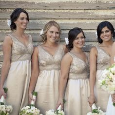 I think giving your bridemaids freedom is by far the best choice. Going with the same color, but letting them choose the style (Strapless, Halter,etc). I personally prefer shorter dresses and I loved this neutral color. Country Bridesmaid Dresses, Wedding Bridesmaids, Wedding Dresses, Wedding Colors, Wedding Styles, Champagne Dress, Champagne Colour, Wedding Inspiration, Wedding Ideas