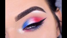 Fourth of july eye makeup tutorial red white & blue 🇺 🇸 - yo Eye Makeup Glitter, White Eye Makeup, Colorful Eye Makeup, Eye Makeup Art, Natural Eye Makeup, Blue Eye Makeup, Eyeshadow Makeup, Makeup Brushes, Pink Eyeliner