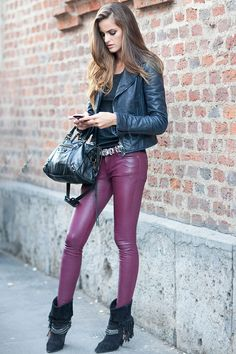 Izabel Goulart street style purple leather trouser with leather jacket and bootees sexy outfit <3