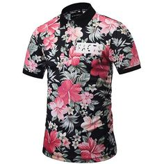 Short Sleeve Floral Polo Shirt (35 BAM) ❤ liked on Polyvore featuring men's fashion, men's clothing, men's shirts, men's polos, men's flower print shirt, mens short sleeve polo shirts, mens short sleeve shirts, mens floral print shirts and mens polo shirts