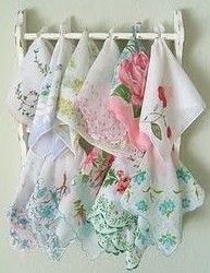 What Can You Do With Vintage HANKIES Handkerchiefs. There are lots of cute ideas on this site. I don't exactly have a bunch of vintage hankies sitting around, but you never know when I might.....