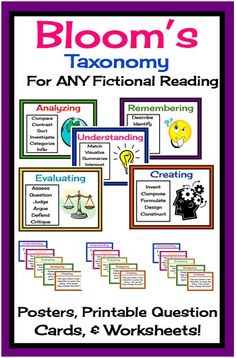 Bloom's Taxonomy Posters (Revised version), and printable question cards for ANY reading!