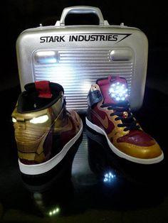 "Nike Dunk High ""Ironman"". Custom job with cool accessories."