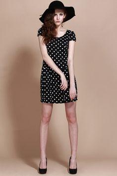 monochrome polka dot dress