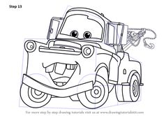 Learn How to Draw Tow Mater from Cars (Cars) Step by Step : Drawing Tutorials Car Drawing Easy, Cartoon Car Drawing, Easy Cartoon Drawings, Car Drawings, Spongebob Drawings, Disney Sketches, Disney Drawings, Coloring Books, Coloring Pages