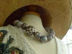 Sardonyx necklace with 925 silver handforged bead caps and fastener via Etsy