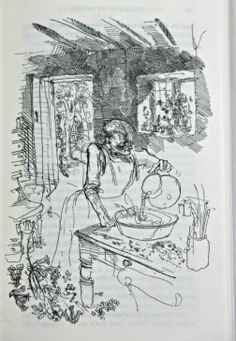 Granny Wallon making her wine by John Ward, from Cider With Rosie.