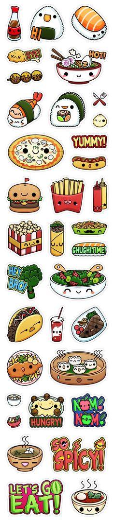:) Viber's Kawaii Food Stickers by Squid&Pig, via Behance | Más en https://lomejordelaweb.es/