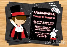 Magician party invitation for N's 5th Birthday