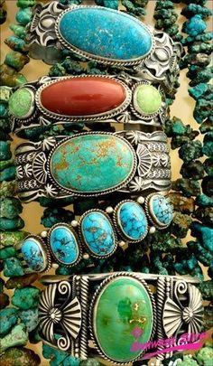 Native American Cuffs from Sunwest Silver in Albuquerque. Sunwest currently owns (or has mining rights to) the Carico Lake mine. #NativeAmericanJewelry
