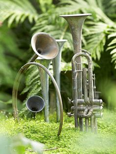 Play to Your Personality:   The number one thing to keep in mind in designing a garden is that your garden needs to fit your personality. So find ways to incorporate things you like in the garden. It may be garden art, such as the instruments here, or particular plants or even certain color combinations.