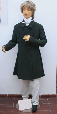 H/221 - Pánský kabát, zelený haras, 2. čtvrtina 19. století. České muzeum stříbra