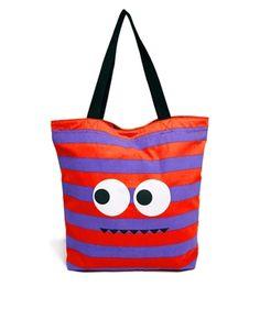 ASOS Cheeky Monster Canvas Shopper Bag
