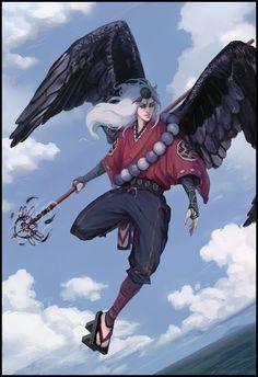 Karasu Tengu by AdamaSto on DeviantArt Fantasy Character Design, Character Concept, Character Inspiration, Character Art, Concept Art, Mythological Creatures, Fantasy Creatures, Mythical Creatures, Dnd Characters